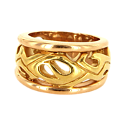 Estate 18 Karat Yellow Rose Gold Mens Wide Band Cigar Ring Fine Jewelry
