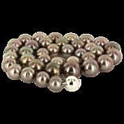Estate 14 Karat White Gold Black Cultured Tahitian Pearl Necklace Fine Jewelry
