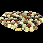 Vintage 14 Karat Yellow Gold Multi Color Jade Bead Strand Necklace Fine Jewelry