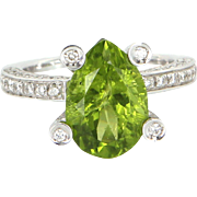 Antonini Peridot Diamond Cocktail Ring 18 Karat White Gold Fine Designer Jewelry