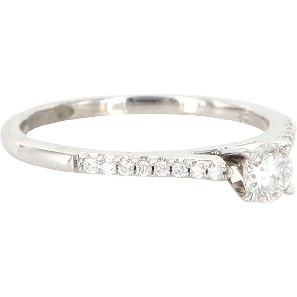Estate 14 Karat White Gold Diamond Engagement Ring Fine Bridal Jewelry