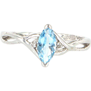 Estate 10 Karat White Gold Diamond Blue Topaz Right Hand Ring Fine Jewelry