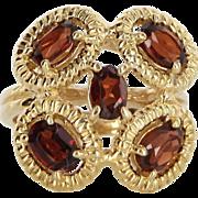 Vintage 14 Karat Yellow Gold Hessonite Garnet Cocktail Ring Fine Estate Jewelry