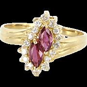 Vintage 18 Karat Yellow Gold Diamond Natural Ruby Small Cocktail Ring Estate