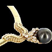 Vintage 14 Karat Yellow Gold Diamond Black Tahitian Pearl Statement Necklace