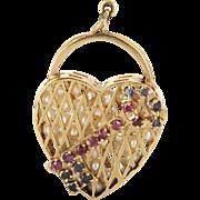 Vintage 14 Karat Yellow Gold Cultured Pearl Sapphire Ruby Heart Key Pendant