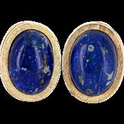 Vintage 14 Karat Yellow Gold Lapis Lazuli Cocktail Earrings Fine Estate Jewelry