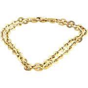 Vintage 14 Karat Yellow Gold Flat Oval Cable Link Long Necklace Fine Jewelry