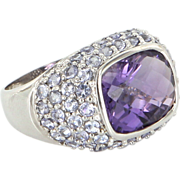 Estate 10 Karat White Gold Amethyst Tanzanite Gemstone Color Cocktail Ring