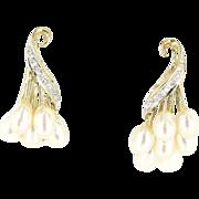 Vintage 14 Karat Yellow Gold Freshwater Pearl Diamond Cocktail Drop Earrings