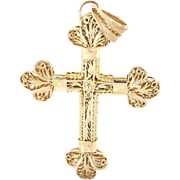 Vintage 14 Karat Yellow Gold Religious Cross Pendant Fine Estate Jewelry
