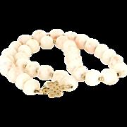Vintage 14 Karat Yellow Gold Angel Skin Coral Choker Necklace Fine Jewelry