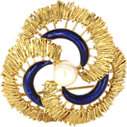 Vintage 18 Karat Yellow Gold Cultured Pearl Blue Enamel Infinity Brooch Pin Estate Jewelry