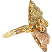 Estate 10 Karat Yellow Rose Gold Black Hills Gold Leaf Grape Cocktail Ring