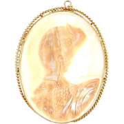Vintage 14 Karat Yellow Gold Large Shell Cameo Soldier Warrior Pendant Brooch