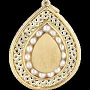 Vintage 14 Karat Yellow Gold Cultured Pearl Cocktail Pendant Fine Estate Jewelry