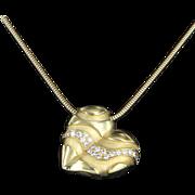 REDUCED B Kieselstein Cord Diamond Heart Necklace 18 Karat Gold Fine Designer Jewelry