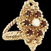 Vintage 14 Karat Yellow Gold Opal Garnet Cocktail Ring Fine Estate Jewelry