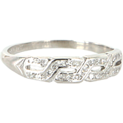 Art Deco 900 Platinum Diamond Key Pattern Wedding Stack Band Ring Vintage