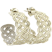 Vintage 14 Karat White Gold Braided Small Hoop Shrimp Earrings Fine Jewelry