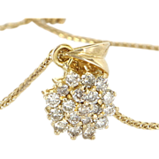 Vintage 18 Karat Yellow Gold Diamond Small Cluster Cocktail Pendant Necklace