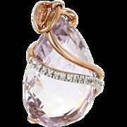 Vintage 10 Karat Rose Gold Amethyst Diamond Cocktail Pendant Fine Estate Jewelry