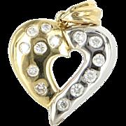 REDUCED Vintage Two Tone 14 Karat Yellow White Gold Diamond Heart Pendant Fine Jewelry