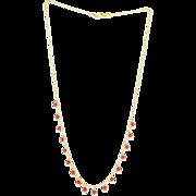 Vintage 18 Karat Yellow Gold Faux Coral Fringe Necklace Fine Estate Jewelry
