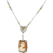 Vintage 10 Karat White Gold Seed Pearl Cameo Drop Filigree Necklace Fine Jewelry