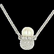 Estate 18 Karat White Gold Diamond Cultured Akoya Pearl Cocktail Necklace