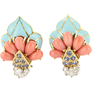Vintage 18 Karat Yellow Gold Diamond Coral Sapphire Turquoise Cocktail Earrings