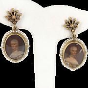 Vintage 14 Karat Yellow Gold Seed Pearl Portrait Of Woman Drop Earrings Estate Jewelry