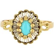 Vintage 18 Karat Yellow Gold Turquoise Cocktail Ring Fine Estate Jewelry