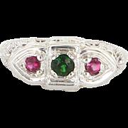 Vintage 14 Karat White Gold Filigree Three Stone Tsavorite Garnet Pink Tourmaline Ring Fine ..