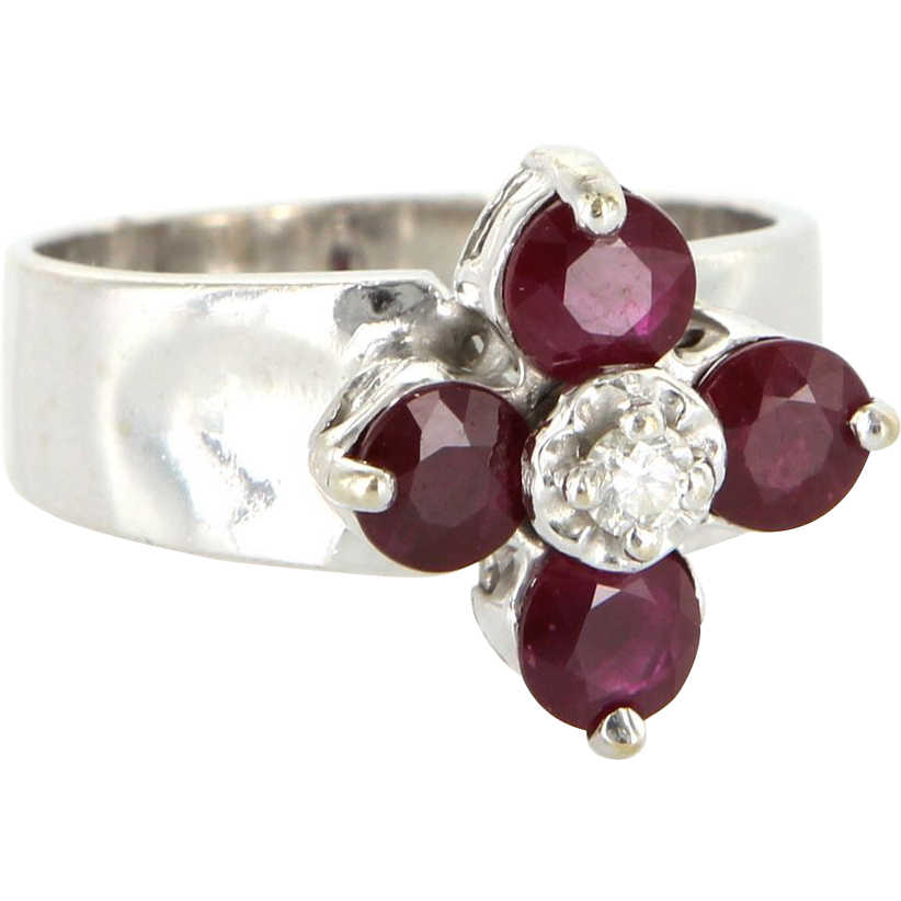Estate 14 karat white gold ruby diamond flower cocktail for 14 karats fine jewelry