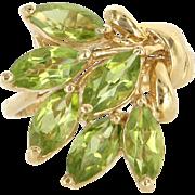 Vintage 14 Karat Yellow Gold Peridot Cocktail Spray Ring Fine Estate Jewelry
