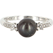 Vintage 10 Karat White Gold Black Cultured Pearl Diamond Cocktail Ring Estate Jewelry