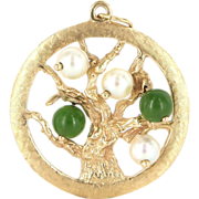 Vintage 14 Karat Yellow Gold Jade Cultured Pearl Tree Of Life Pendant Charm Estate Jewelry