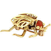 Vintage 14 Karat Yellow Gold Enamel Beetle Bug Insect Brooch Pin Estate Jewelry