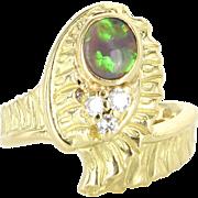 Black Opal Diamond Vintage Ring 18 Karat Yellow Gold Estate Fine Jewelry Sz 6