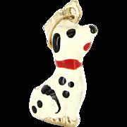 Vintage 14 Karat Yellow Gold Enamel Dalmatian Dog Small Pendant Charm Estate Jewelry