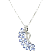 Vintage 14 Karat White Gold Diamond Tanzanite Pendant Necklace Estate Jewelry