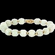 Vintage 14 Karat Yellow Gold Jade Bead Bracelet Fine Estate Jewelry Pre-Owned