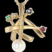 Vintage 14 Karat Rose Gold Multi-Gemstone Pendant Necklace Fine Estate Jewelry