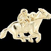 Vintage 14 Karat Yellow Gold Racehorse Jockey Animal Pendant Estate Jewelry