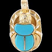 Vintage 14 Karat Yellow Gold Turquoise Egyptian Scarab Beetle Bug Pendant Estate Jewelry