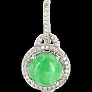 Vintage 14 Karat White Gold Jade Diamond Drop Halo Pendant Fine Estate Jewelry