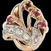 Art Deco Retro 14 Karat Rose Gold Diamond Ruby Cocktail Ring Vintage Estate Jewelry