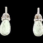 Vintage 14 Karat  White Gold Diamond Green Prasiolite Amethyst Briolette Drop Earrings