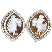 Estate Stephen Dweck 925 Sterling Silver Shell Cameo Earrings Clip Designer Jewelry
